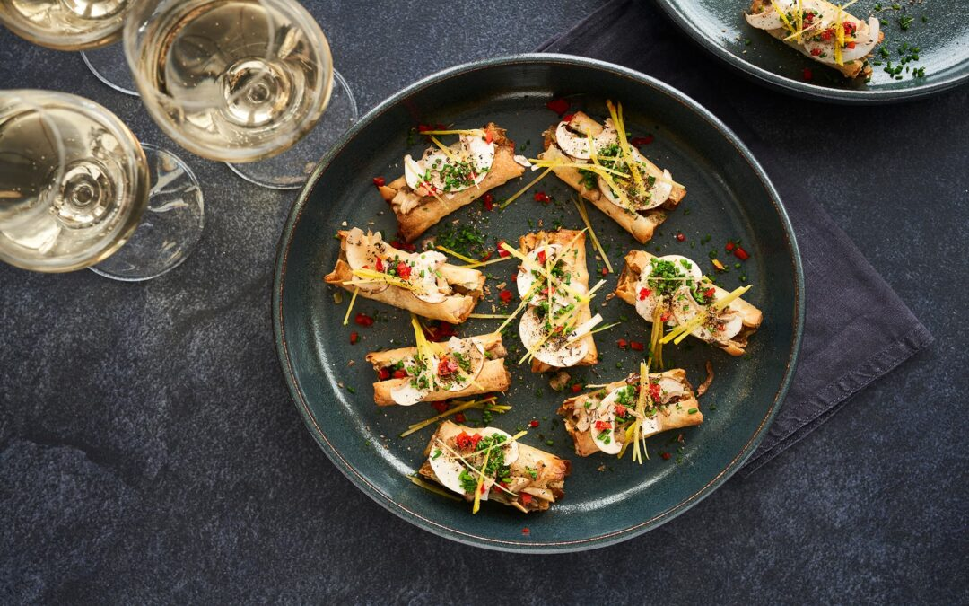 Nytårs mini forårsruller med grøntsager, 2 slags svampe og ingefær