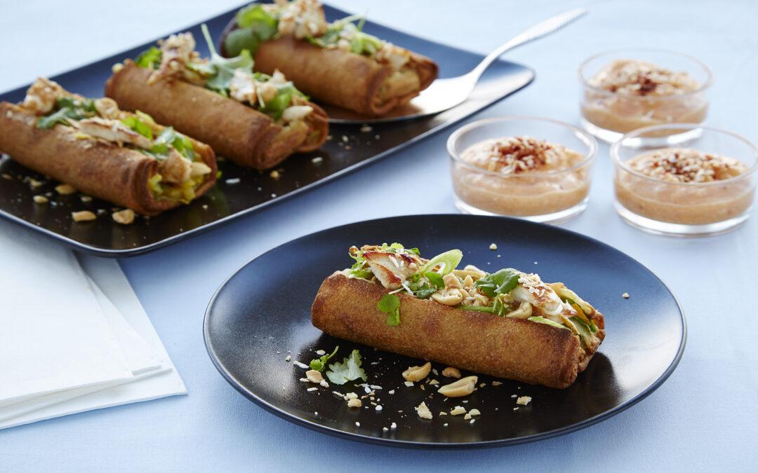 Spring Rolls med grøntsager med topping af kylling, forårsløg, peanuts og mangodip